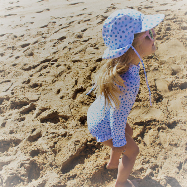 Blue Polka Swim Flap Hat