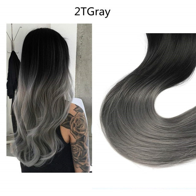 Synthetic Clip-in One Piece 14 16 18 120g Wave Halo Hair Extensions Invisible Ombre Bayalage Synthetic Natural Flip Hidden Secret Wire Crown Grey Pink Synthetic Extensions