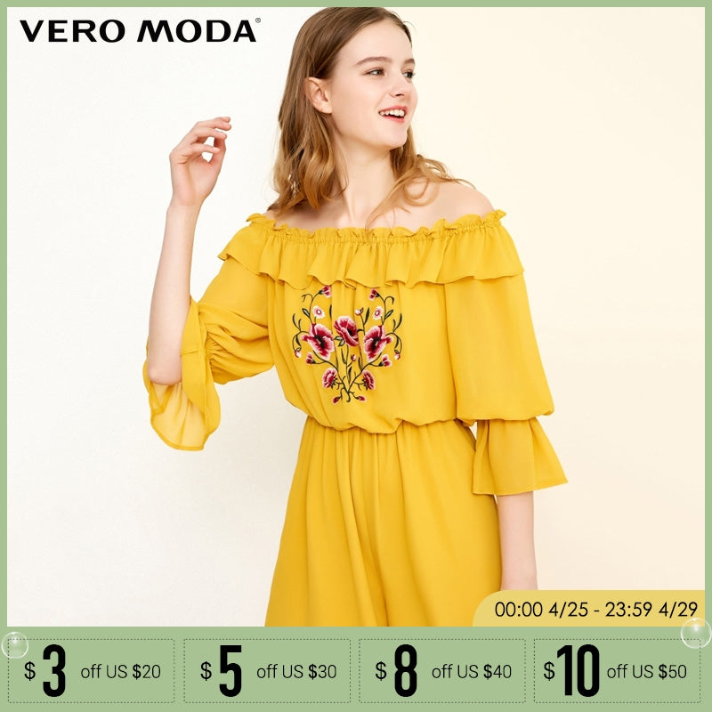 d73a4f0cb2 Vero Moda 2019 Spring Summer New Embroidered Boat Neck Flare Sleeves Short  Jumpsuit |318278504