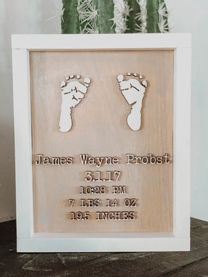 Infant Prints with Birth Info (Keepsake Urn)