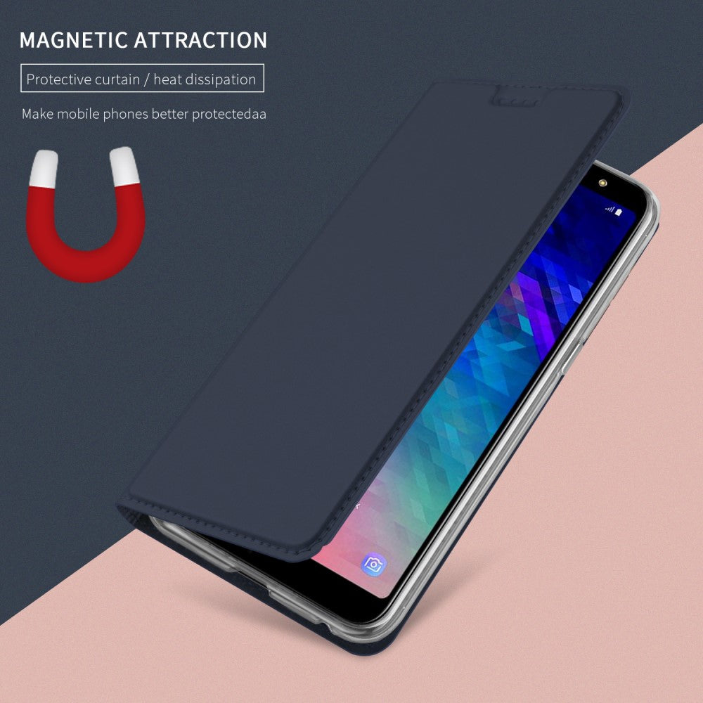 sports shoes a5617 e73d0 Samsung Galaxy A6+ (2018) Magnetic Leather Stand Cover m. Kortholder ...