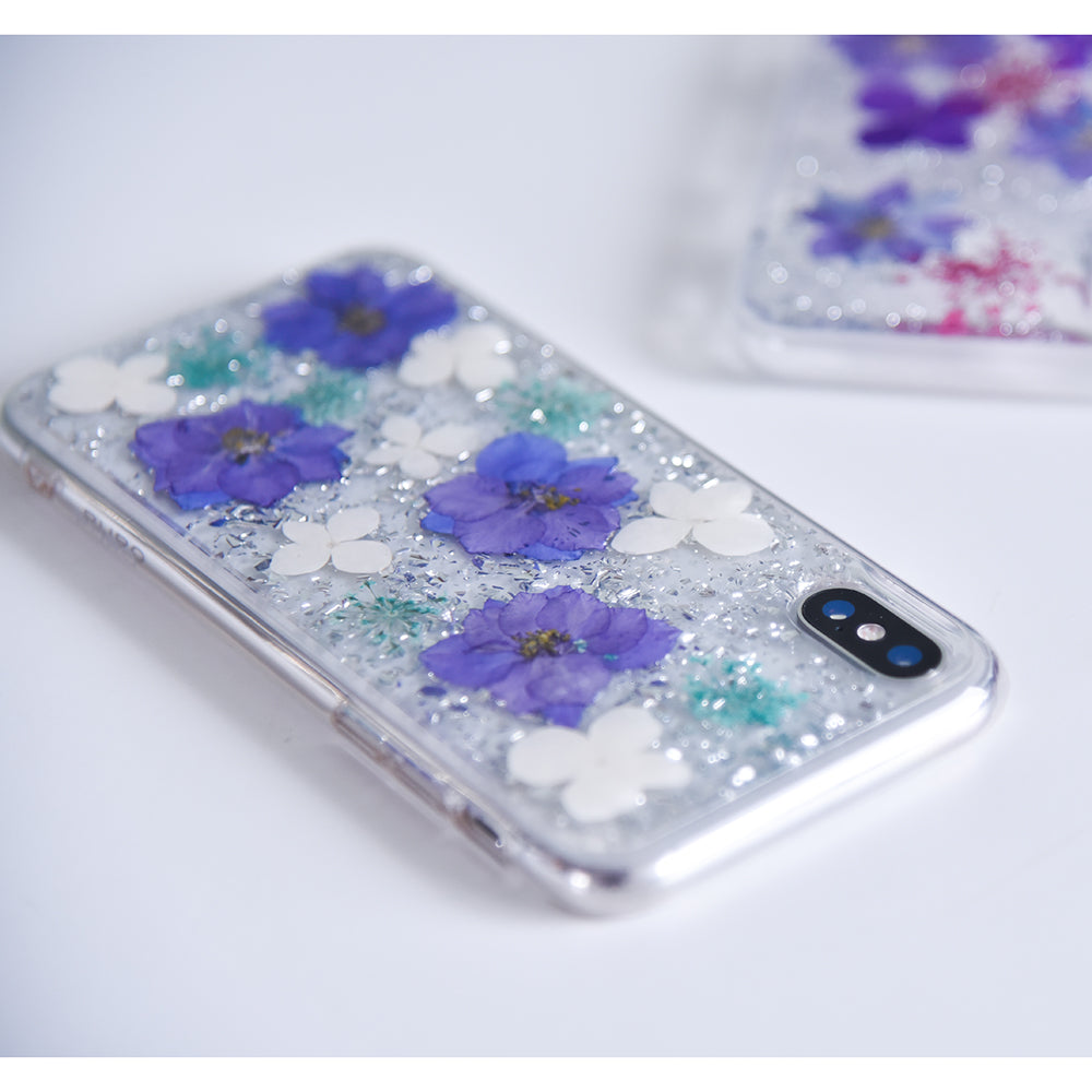 half off 01519 31362 iPhone XR Puro Hippie Chic Fall Cover - Ægte Blomster - Lilla