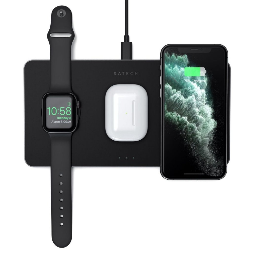 Satechi Trio 3i1 Trådløs Oplader til Apple Watch, Smartphones & AirPods - Sort