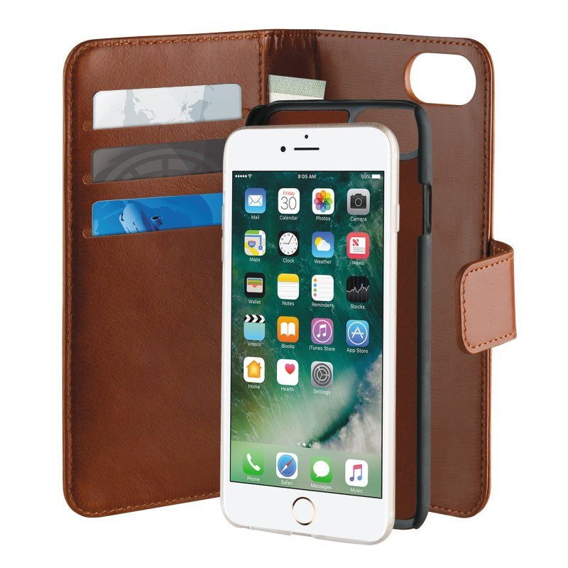 29450f32c19 iPhone 8/7/6/6s Puro Duetto Wallet - Ægte Læder Cover - Brun ...