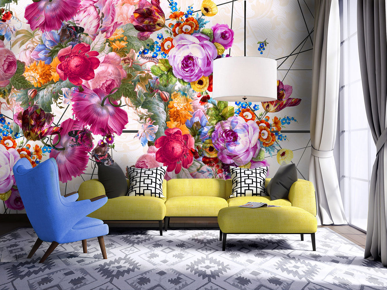 Bloom Boom / Large Floral Wall Mural By Back To The Wall