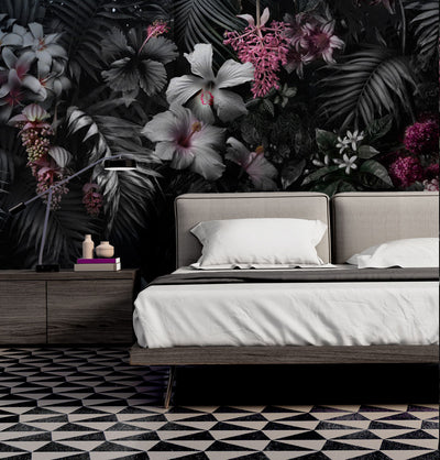 Dark Paradiso Floral Art Wall Mural by Back to the Wall