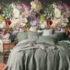Fiori Floral Mural Wallpaper in a bedroom by MM Linen for Back to the Wall