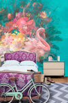 Flamingo Flowers Wall Mural by Back to the Wall