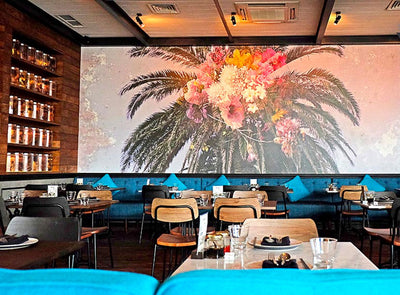 Floral Palm Oriental Wall Mural in a Restaurant by Back to the Wall