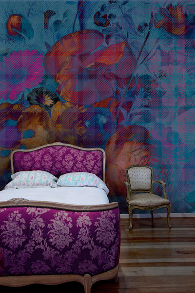 Floral Tartan Wall Mural by Back to the Wall