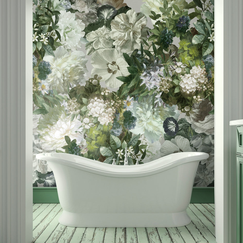 Florian Floral Mural Wallpaper for a bathroom by MM Linen for Back to the Wall