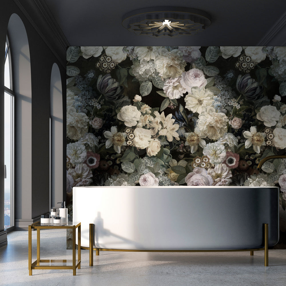 Floz mural wallpaper for a bathroom by MM Linen for Back to the Wall