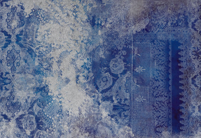Lace Grunge Blue Wall Mural by Back to the Wall