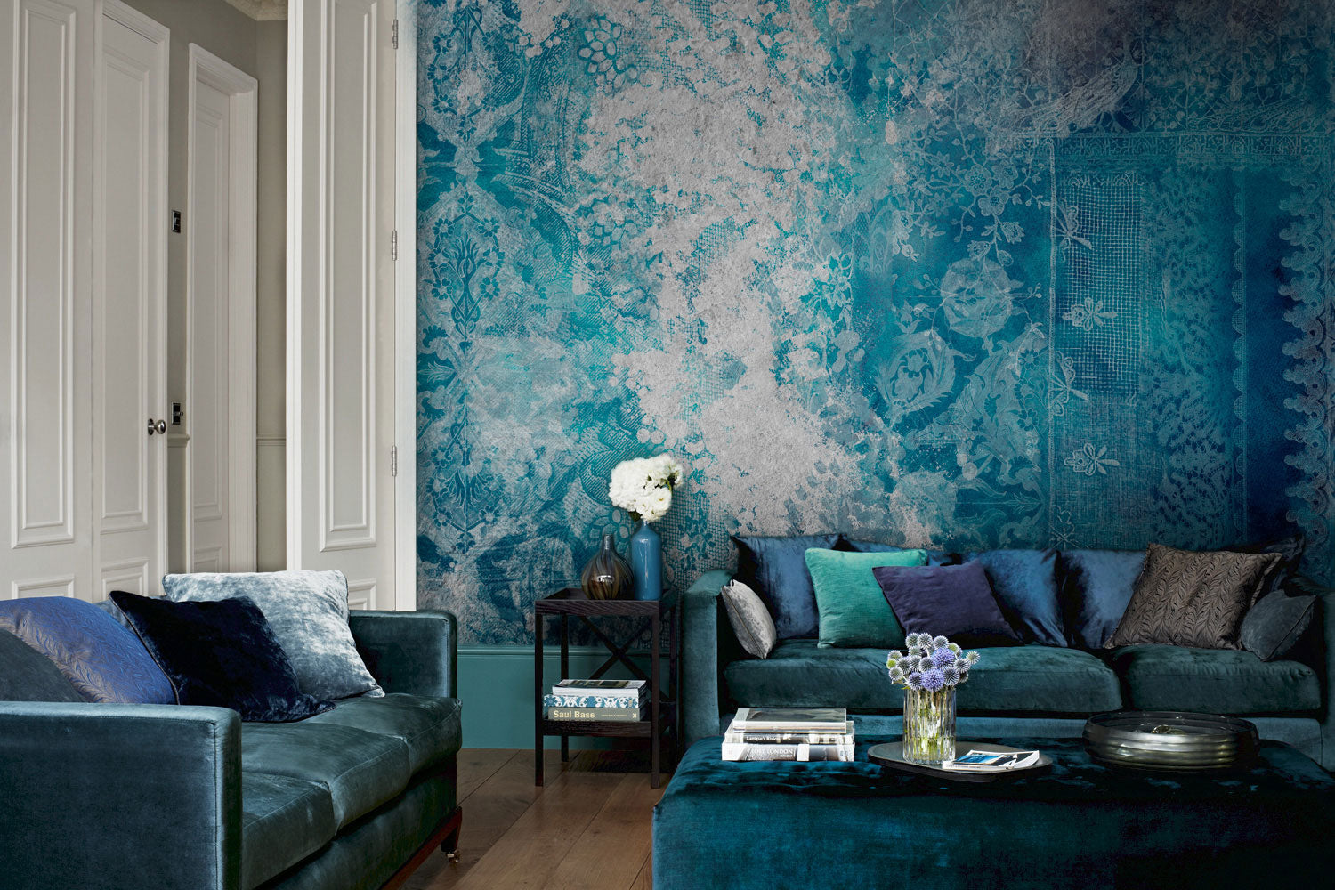 Lace Grunge Teal Wall Mural by Back to the Wall