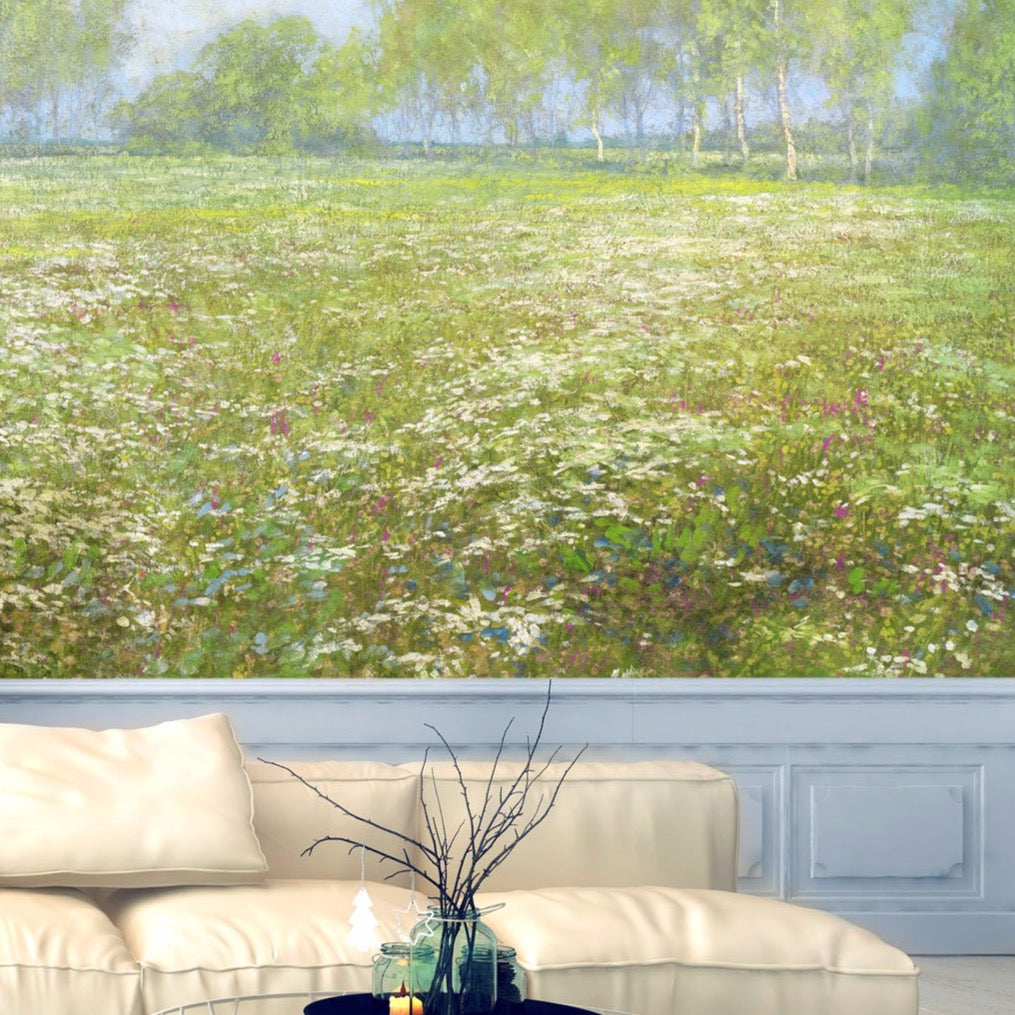 Meadow Grass Fields Wall Mural by Back to the Wall