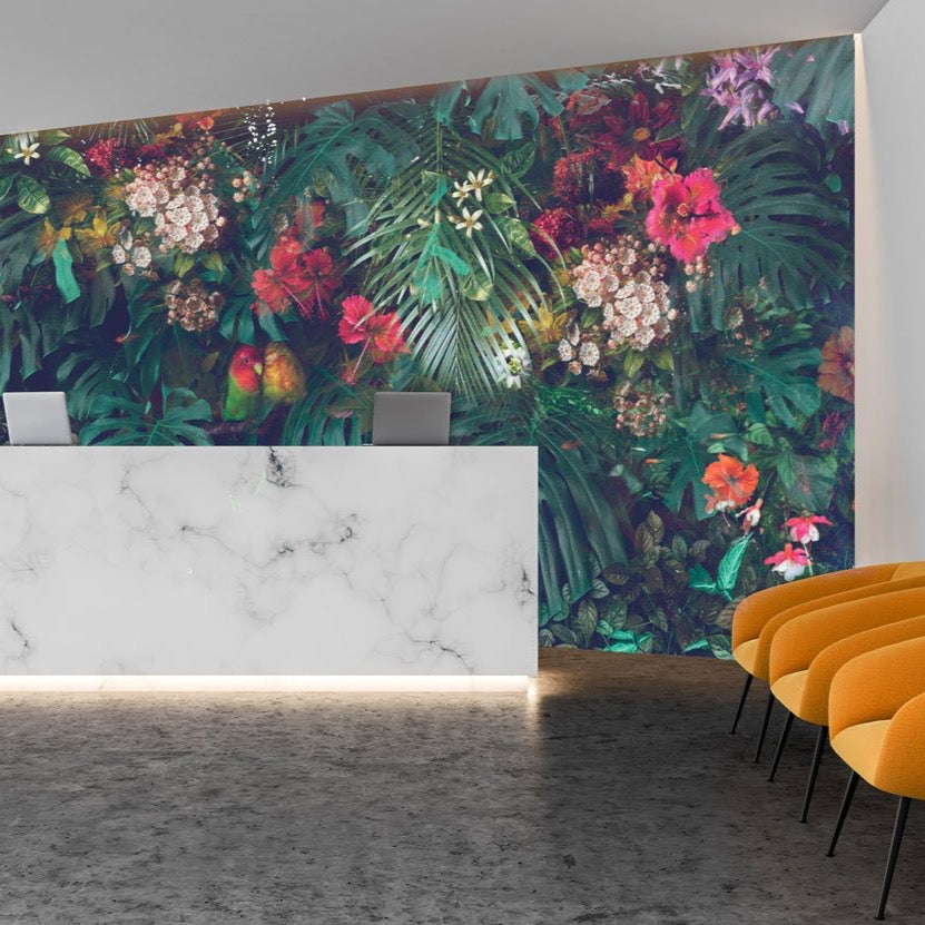 Pacifica Tropical Wall Mural in a reception area by Back to the Wall