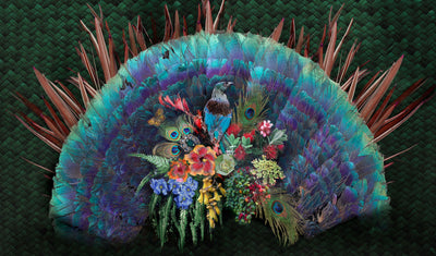 Peacock Flax & Flowers | Wall Mural by Back to the Wall