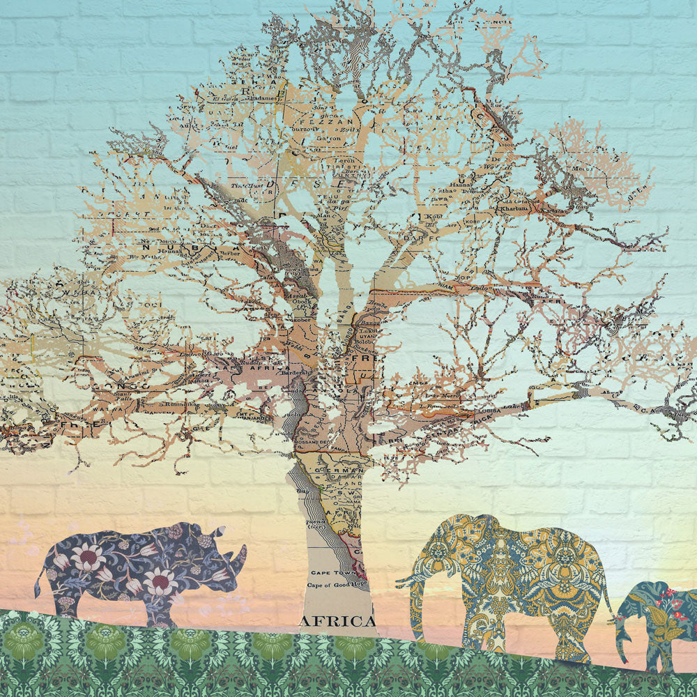 Safari Elephant Giraffe & Rhino Wall Mural by Back to the Wall