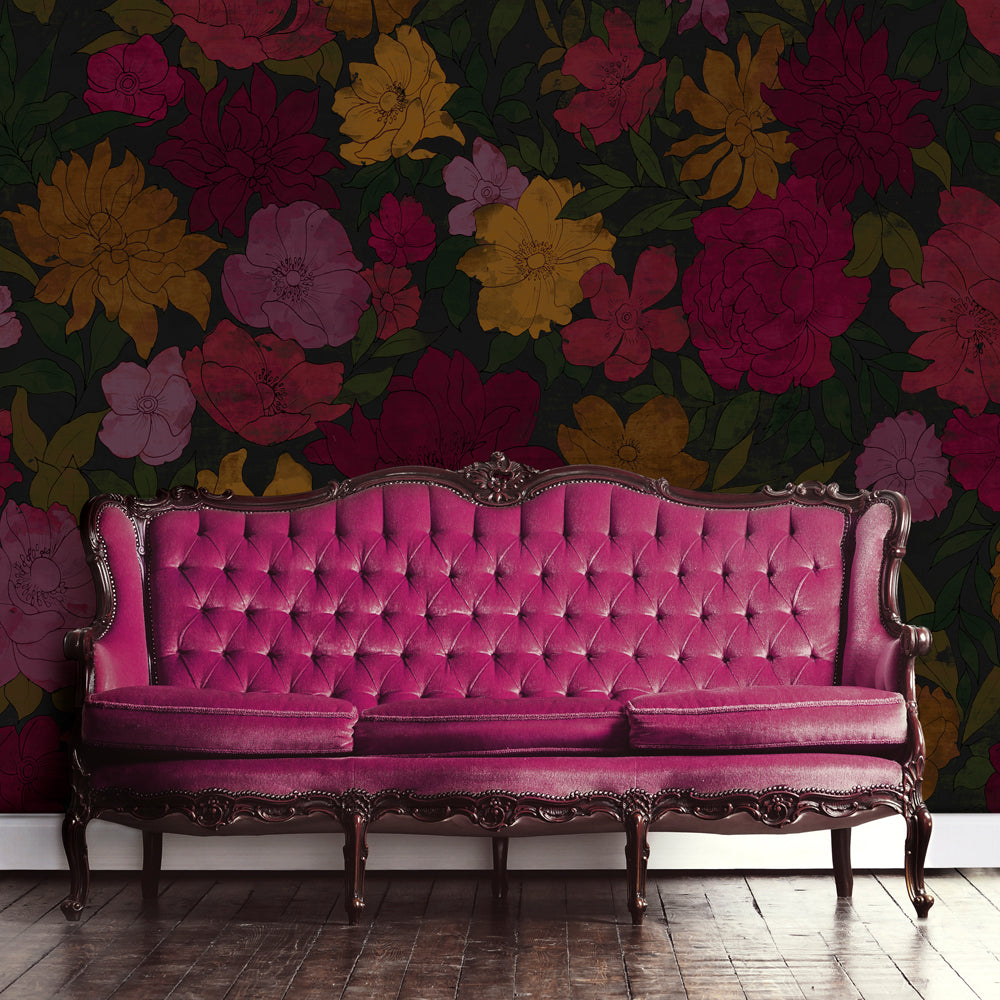 Sumi Floral Mural Wallpaper for a living room by MM Linen for Back to the Wall