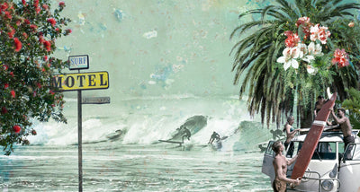 Surf Motel | Surfing Sea Ocean Wall Mural by Back to the Wall