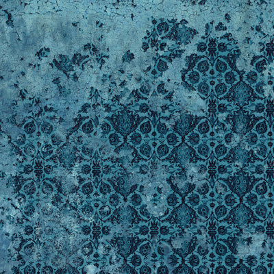 Tile Grunge Blue Wall Mural by Back to the Wall