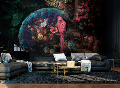 Beauty's Banquet Tropical Parrot Wall Mural by Back to the Wall