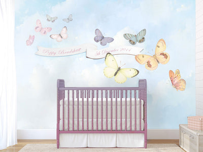 Butterfly Sky Monogram Wall Mural by Back to the Wall