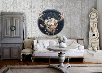 Champagne & Antlers Medallion Wall Mural by Back to the Wall