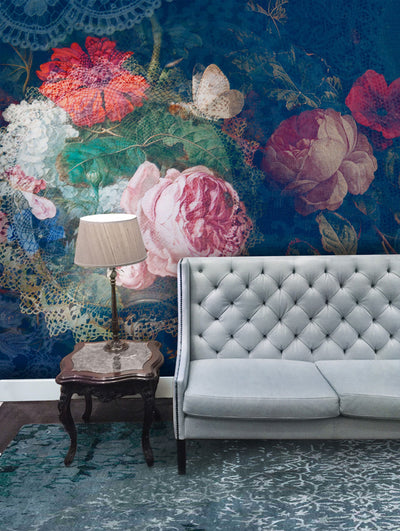 Floral Dolly Bouquet Wall Mural by Back to the Wall