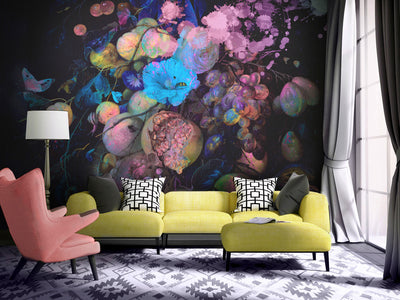 Fluro Floral Design Wall Mural by Back to the Wall