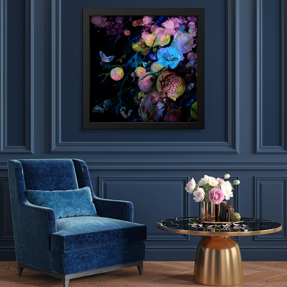 Fluro Floral Art Print by Back to the Wall