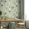 Marlie Floral Mural Wallpaper for a dining room by MM Linen for Back to the Wall