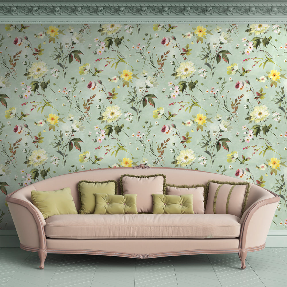 Marlie Floral Mural Wallpaper for a living room or lounge by MM Linen for Back to the Wall