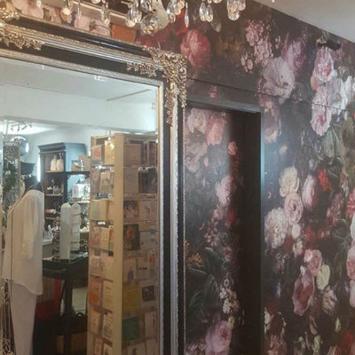 Blooming Hedge Wall Mural in a Retail Store | Flowers by Back to the Wall