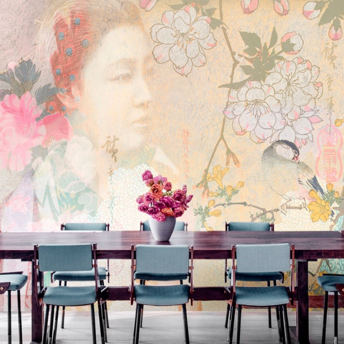 Serene Woman | Oriental Flowers Wall Mural by Back to the Wall