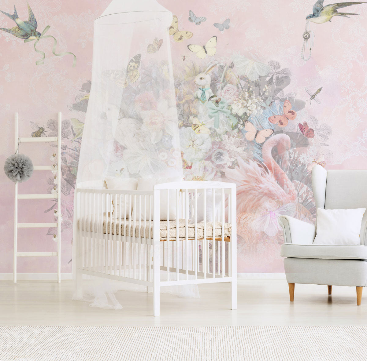 Sugar & Spice Pink Wall Mural by Back to the Wall