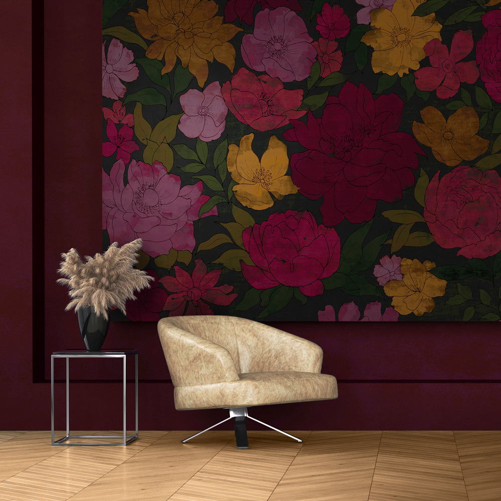 Sumi Floral Mural Wallpaper for a Lobby by MM Linen for Back to the Wall