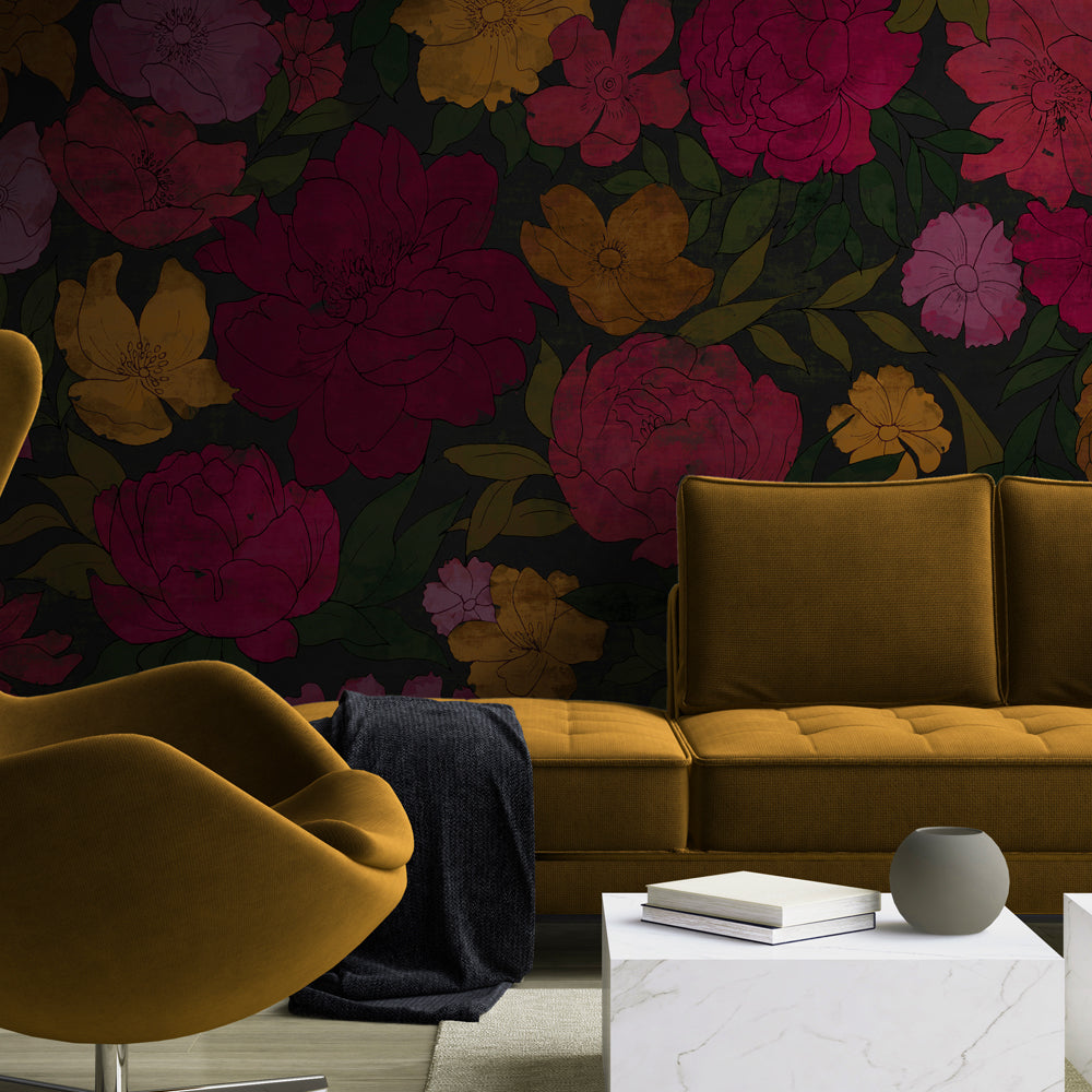 Sumi Floral Mural Wallpaper for a living room or lounge by MM Linen for Back to the Wall