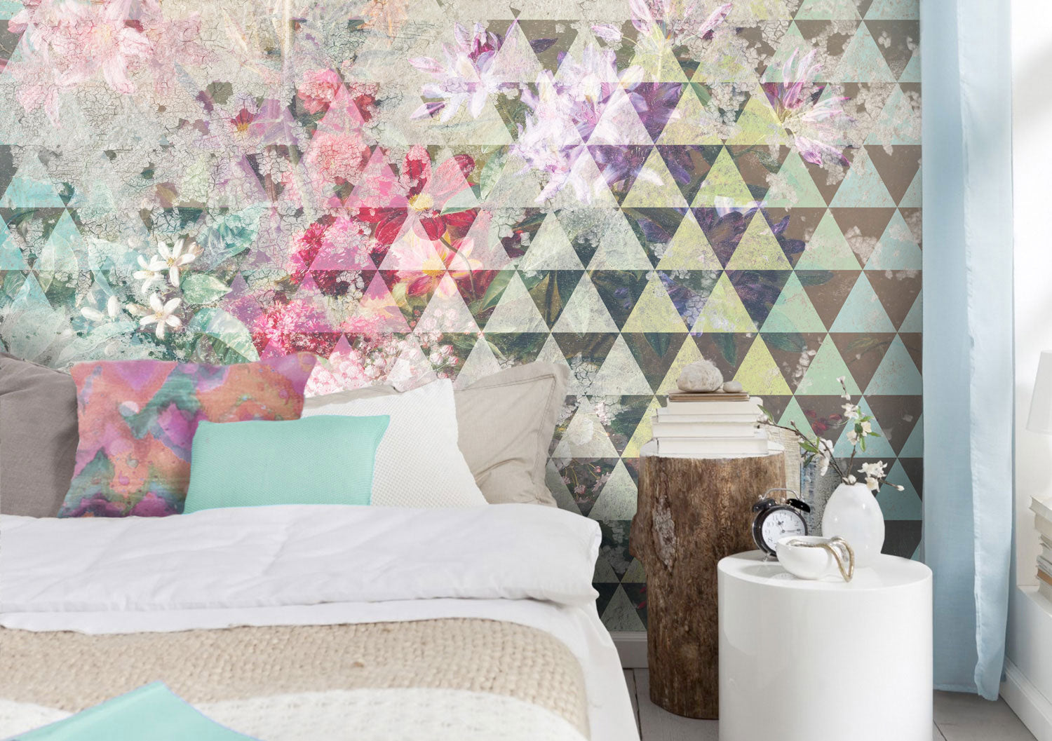 Tri Floral Geometric Wall Mural by Back to the Wall
