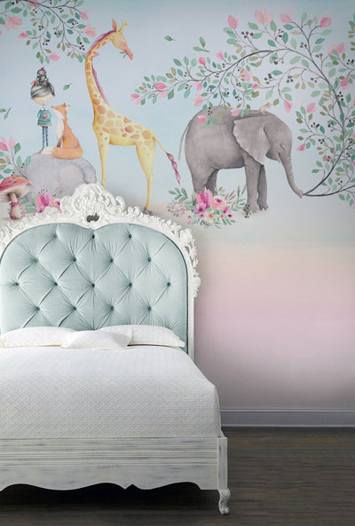 Whimsical Mural Wallpaper in a child's bedroom by Back to the Wall