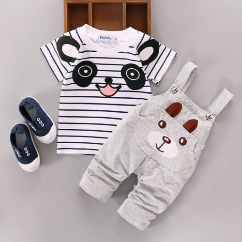 Cartoon Panda Striped T-shirt + Grey Bear Pants Trousers
