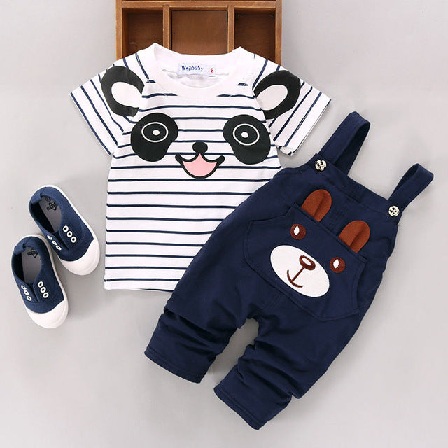 Cartoon Panda Striped T-shirt + Navy Bear Pants Trousers