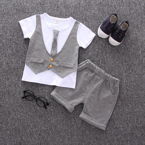 Baby Casual T-shirt with Fake Vest & Pants