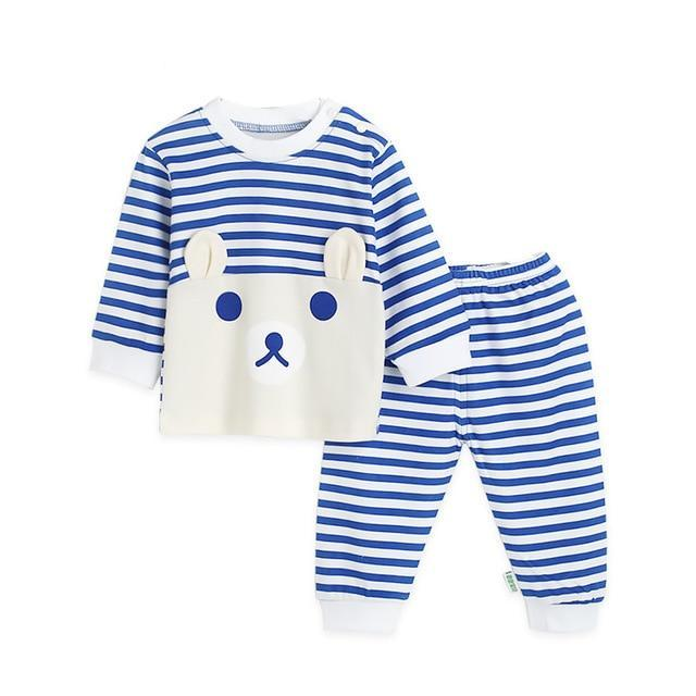Animal Blue Stripe Pajamas Set
