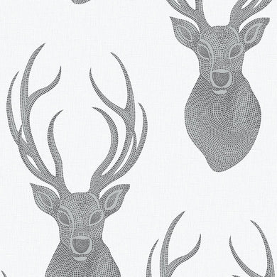 Stag Head Wallpaper Grey/Silver/Black 273717