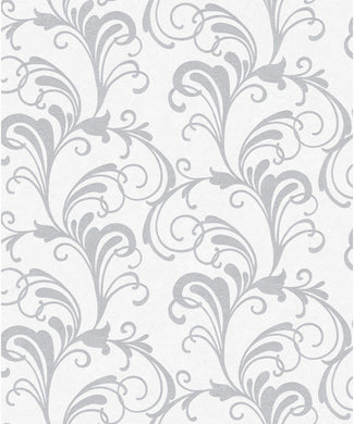 Valentina Scroll damask Wallpaper metallic leaf glitter