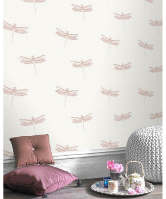 Dragon Fly Pink Metalic Wallpaper 309010