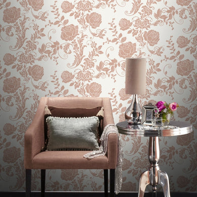 Rose Flower Wallpaper Metallic Gold