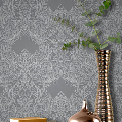 Rasch Damask silver/grey wallpaper