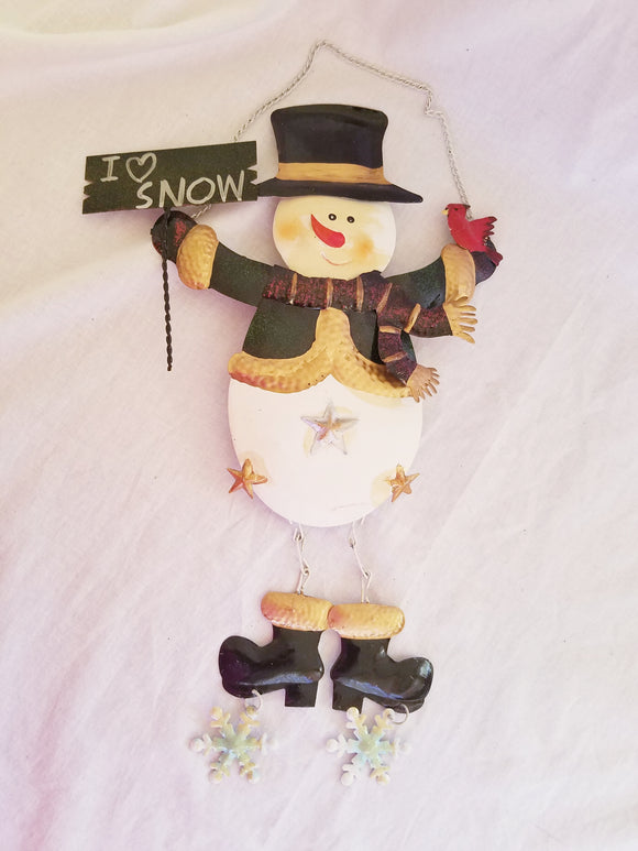 Snowman metal hanging decor.